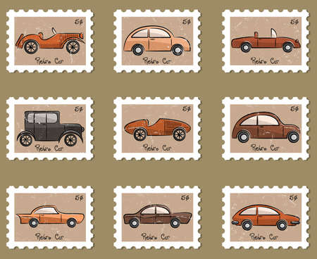 car wheel: Cute stamp retro cars collection in vintage style