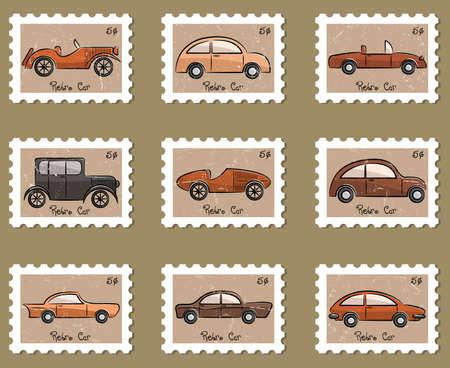 auto illustratie: Leuke stempel retro auto's verzamelen in vintage stijl