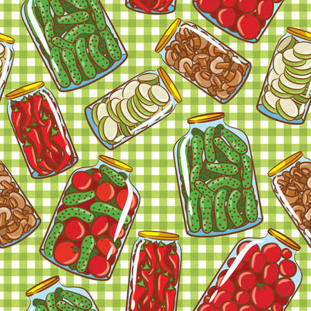 picnic cloth: Cute seamless pattern with homemade pickles Illustration