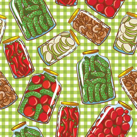 cartoon mushroom: Cute seamless pattern with homemade pickles Illustration