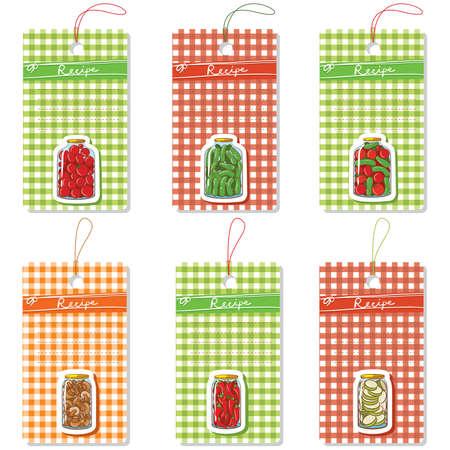 sottoli: Vector set di sei etichette di cartone con i sottaceti fatti in casa Vettoriali