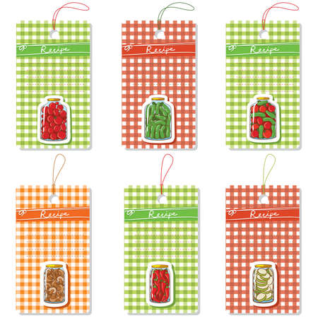 Vector set of six cardboard tags with home made pickles