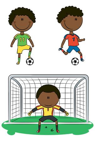 little league: Doodle collection of cheerful African-American soccer players