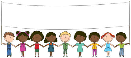 girls holding hands: Cheerful happy kids of different nationalities holding empty blank banner