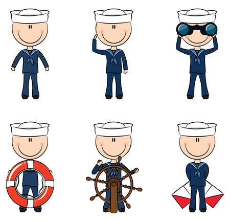 timone: Set di marinai carino isolato su sfondo bianco Vettoriali