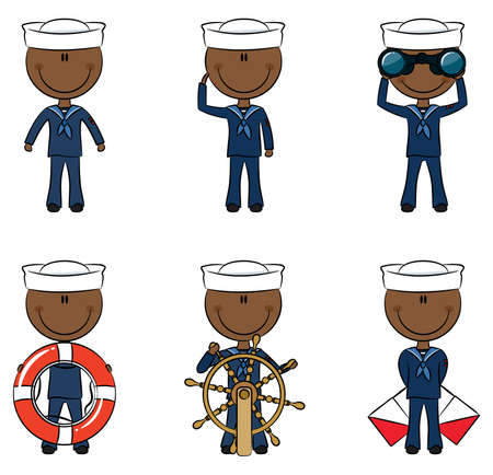 Set of cute African-American seamen on the white background Vector