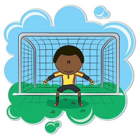 little league: Cute African-American soccer goalkeeper on the gate