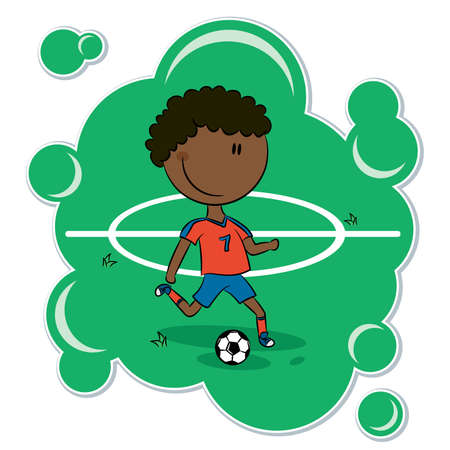 An African-American boy getting ready to kick a soccer ball Vector Illustration