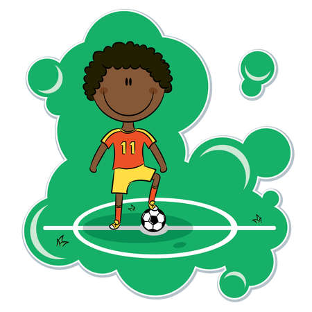 Cartoon African-American soccer player stand on the field with ball Vector