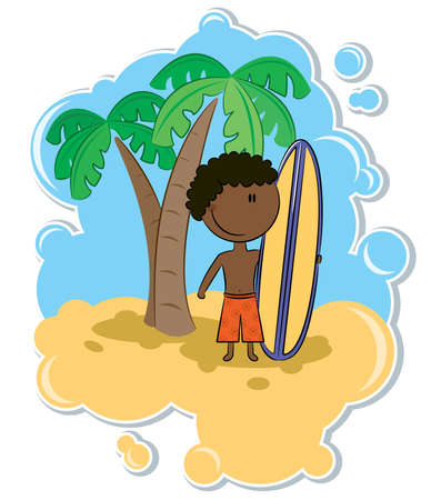 Illustration of the cheerful African-American boy with surfboard on the beach Vector