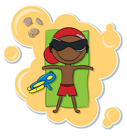 Cheerful cute African-American boy relax on the beach after game with water pistol Vector