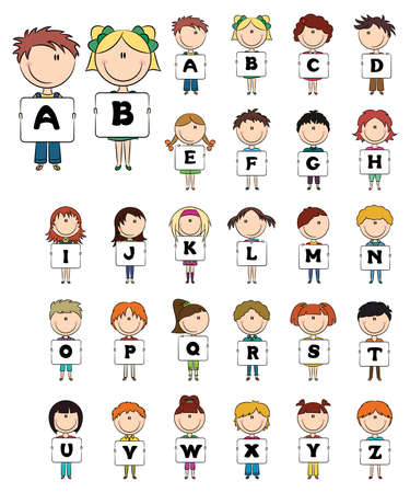 Kids hold capital letters alphabet for education  Vector