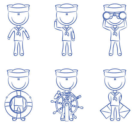 ship captain: Set of cute seamen isolated on white background