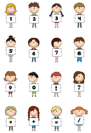 Kids hold numbers & symbols for education  Vector