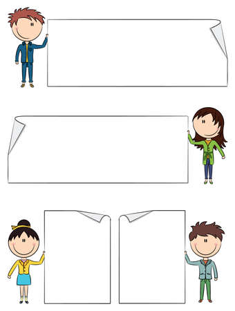 child holding sign: Cute boys and girls holding empty blank banners  Color version  Illustration