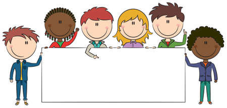 Cute multiethnic boys and girls holding empty blank banners. Color version. Vector
