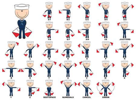 Semaphore flag positions for the alphabet