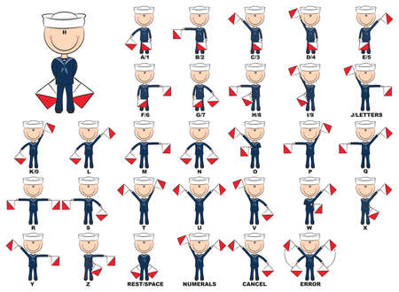 Semaphore flag positions for the alphabet
