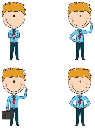 Cute and funny cartoon office managers Vector