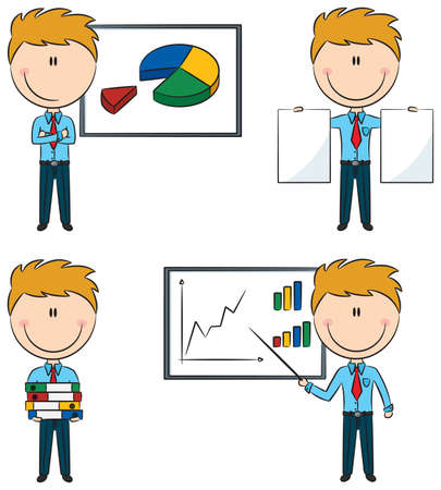Cute funny businessmen with diagrams and documents Vector