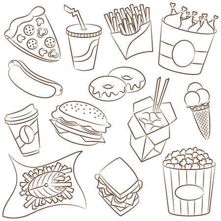 comida americana: Doodle conjunto con los iconos de comida r�pida