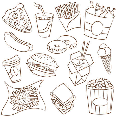 Doodle set with fast food icons Vector