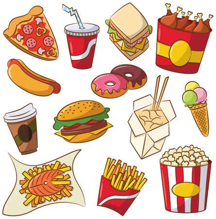 french culture: Vector illustration of fast food set
