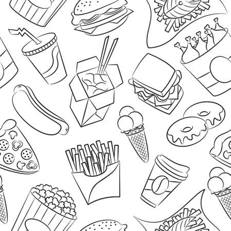 unhealthy food: Cute seamless pattern with fast food Illustration