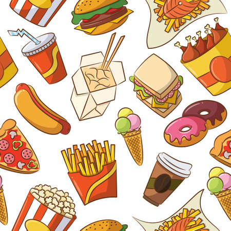 Cute seamless pattern with fast food Illustration