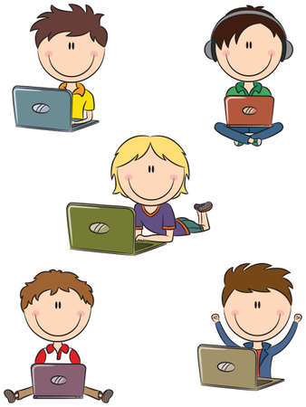 Cute cheerful boys with laptops sitting in different poses Vector