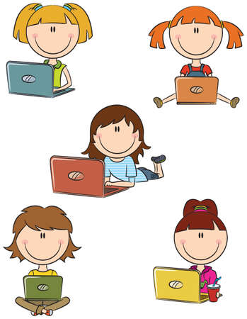 computer education: Cute cheerful  girls with laptops sitting in different poses