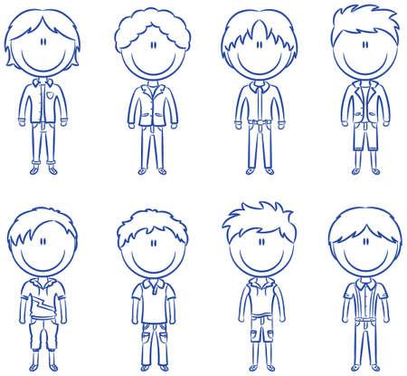 niño preescolar: Lindos los chicos de moda aisladas sobre fondo blanco Vectores