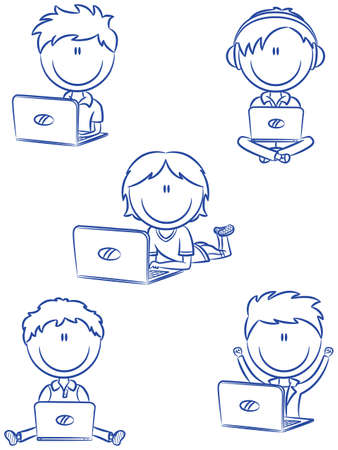 teenagers laughing: Cute cheerful boys with laptops sitting in different poses