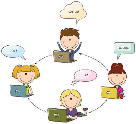 Kids Social Network concept Vector