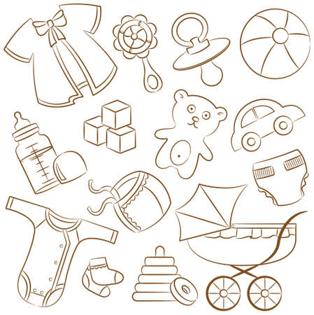 tessera: Cute doodle baby icons on the white