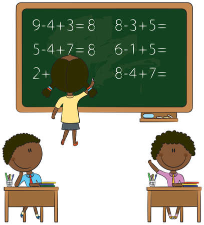 mathematical symbol: Cute children in school related situations