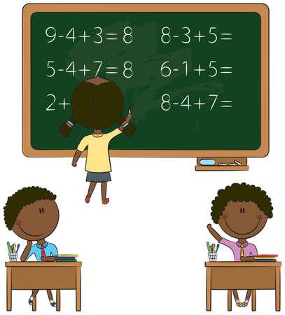 Niños lindos en situaciones relacionadas con la escuela Ilustración de vector