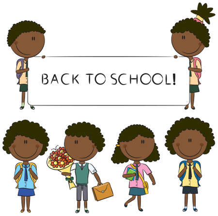 school uniform: African-American school kids with empty banner, flowers and books isolated on white background
