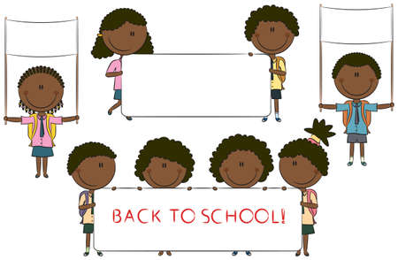Happy African-American cute children holding empty banner for your message Stock Vector - 15073468
