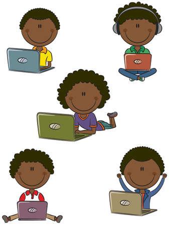 teenagers laughing: Cute African-American boys with laptops sitting in different poses Illustration