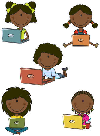 girl laptop: African-American cheerful  girls with laptops sitting in different poses