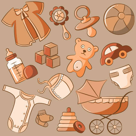 beanbag: Retro style doodle baby icon set