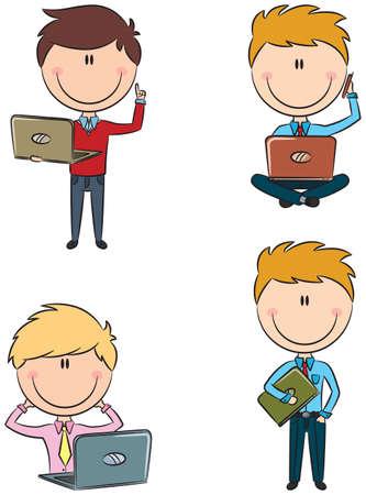 using laptop: Uomo d'affari con laptop isolato su bianco Vettoriali