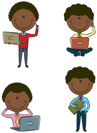 African-American uomo d'affari con laptop isolato su bianco Vettoriali