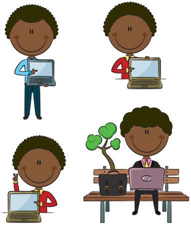 using laptop: African-American uomo d'affari con laptop in diverse situazioni Vettoriali