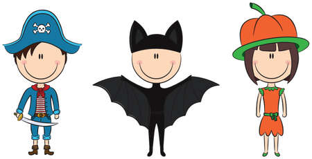 Kids in different cute Halloween costumes Vector