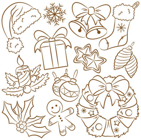 Cute doodle icons on Christmas theme Illustration