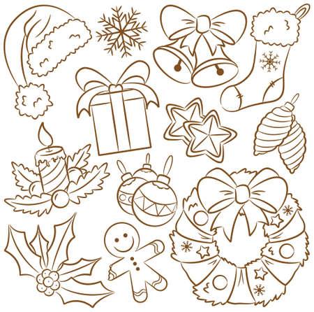 holiday cookies: Lindos iconos garabato en tema de Navidad