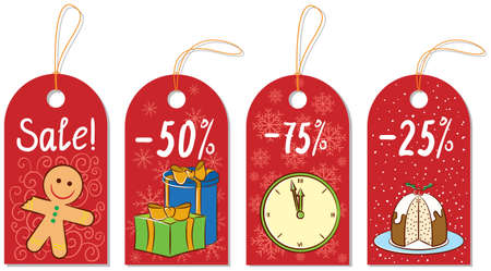 Christmas gift labels isolated on white backgrouns Vector