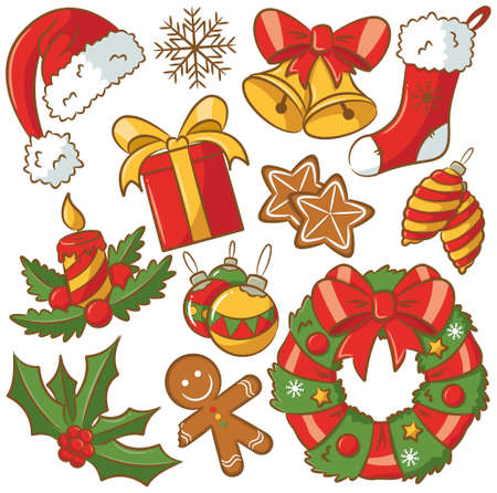 Cute doodle icons on Christmas theme Vector